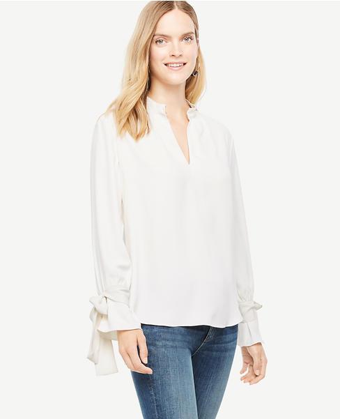 white bow cuff blouse Ann Taylor
