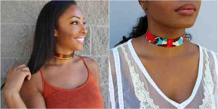 Ankara fabric choker necklace