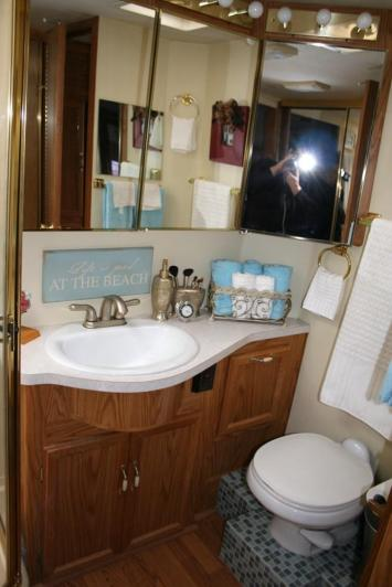 rv-remodel-blue-jeans-and-flip-flops-bathroom-marvelous-ideas-for-renovated-small-bathroom-decoration-using-pink-flower-bathroom-wallpaper-including-bathroom-mirror-medicine-cabinet