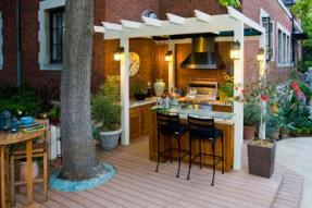 summer-kitchen-design-plans-fascinating-outdoor-summer-kitchens-also-antique-wall-clock-cool-cream-hanging-day-bed-with-antique-dinner-set-also-stone-bricks-wall-design-outdoor-kitchen-design-awes