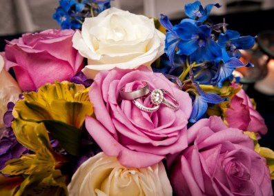 Blue, White and Pink Wedding Centerpieces