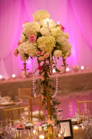 Tall Pink and White Wedding Centerpieces with Pink Uplighting