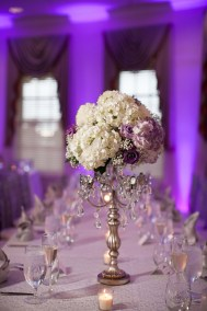 Purple and White Wedding Reception with Tall Centerpieces