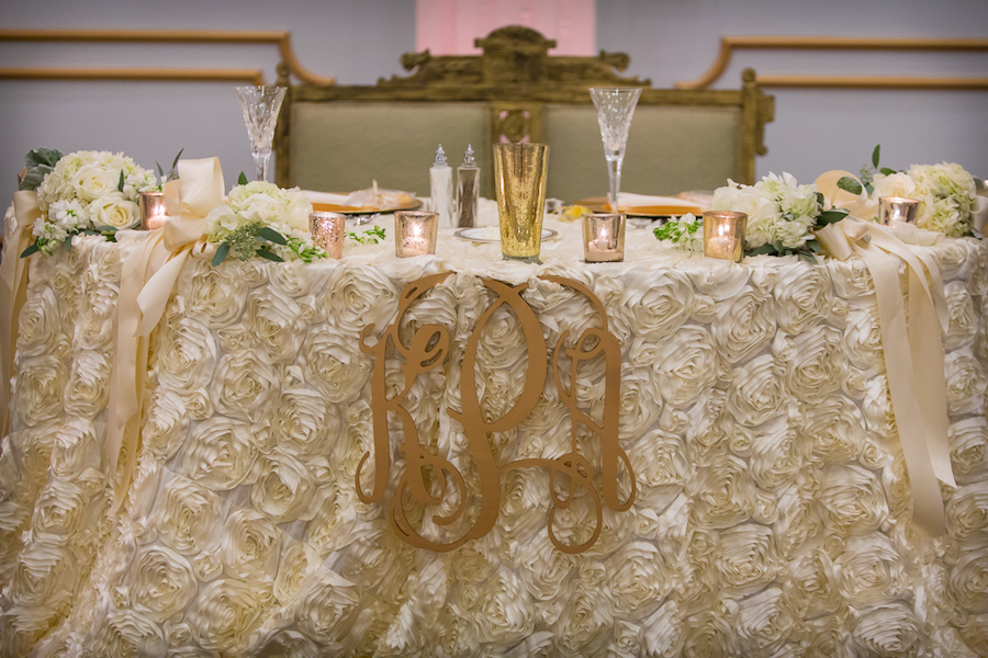 Ivory, Rosette Sweetheart Table Linen with Gold Table Accents and Ivory Florals | Tampa Wedding Floral Designer Northside Florist
