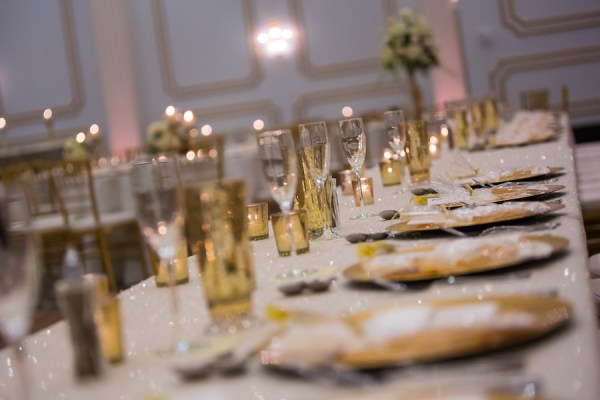 Ivory and Gold Wedding Reception Table Decor