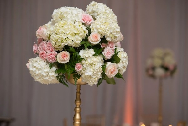 Tall Pink Rose and White, Ivory Hydragena Wedding Reception Table Centerpieces on Gold Flower Stand | Tampa Wedding Floral Designer Northside Florist