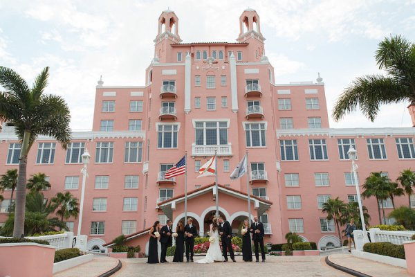Destination Beach Bride and Groom and Bridal Party Wedding Portrait | Outdoor St Pete Beach Wedding at Loews Don CeSar