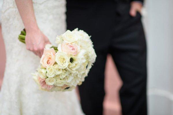 Romantic Blush and White Wedding Bouquet with Memory Charm   Destination St. Pete Beach Wedding Floral Designer Northside Florist