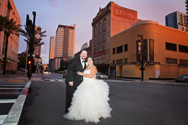 Bride and Groom Wedding Portrait at Downtown Tampa Floridan Palace Hotel | Wedding Flowers by Northside Florist