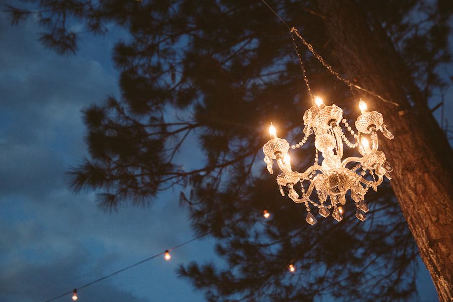 Rustic Glam Outdoor Wedding Crystal Chandelier | Nighttime Wedding Decor Idea | Land O Lakes Wedding Florist Northside Florist