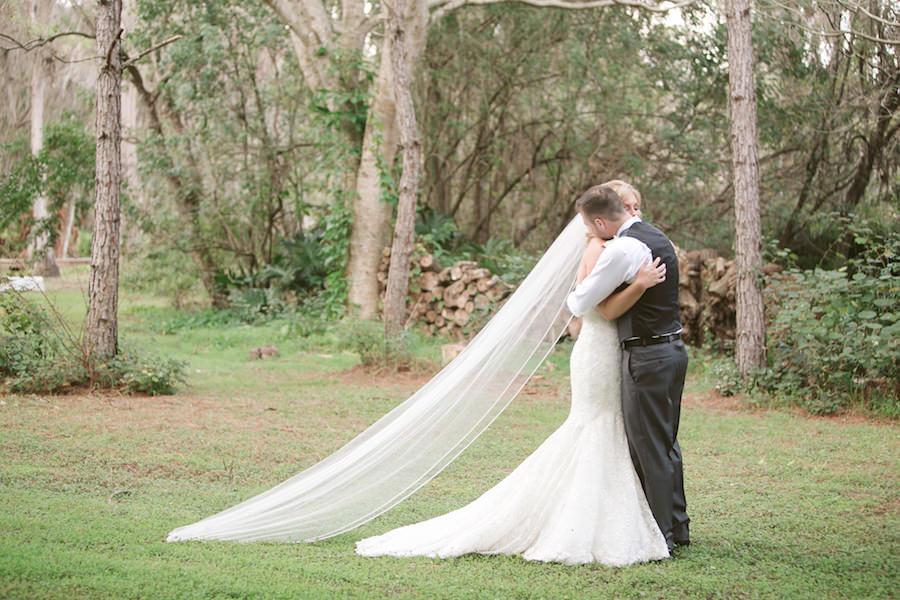 Florida Bride and Groom First Look Wedding Portrait | Tampa Bay Wedding Floral Designer Northside Florist