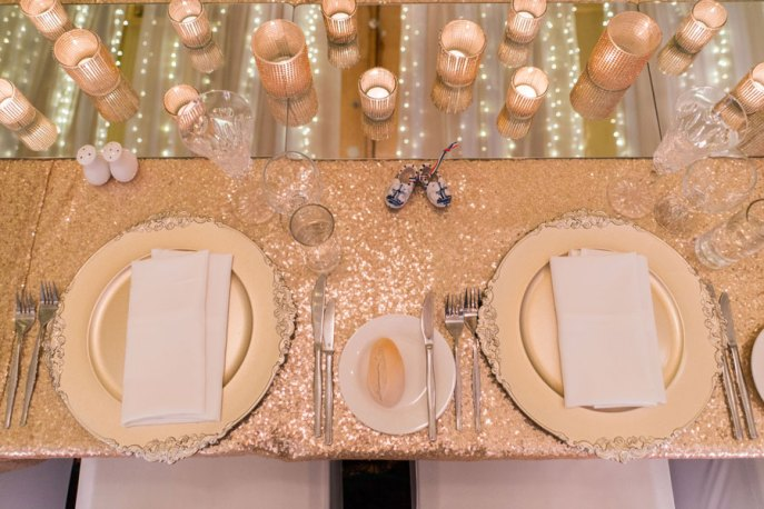 Gold Sequin Linen and Gold Chargers