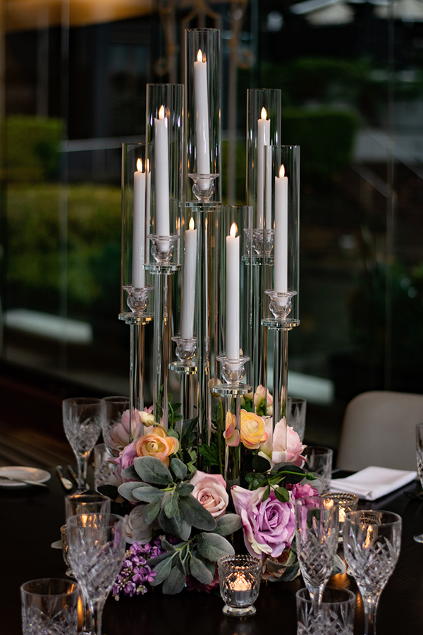 blackbird-wedding-reception-styling-glass-candelabra-candlestick-holder-guest-table-centrepiece-faux-silk-flower-florals
