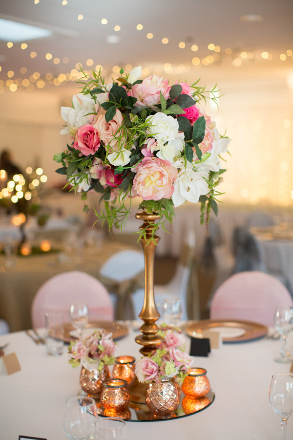 walkabout-creek-banksia-wedding-reception-styling-guest-table-copper-pedestal-pink-flower-floral-topper-blush-organza-sashes