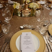 samantha-&-callum-easts-leagues-club-wedding-reception-styling-gold-candelabra-textured-vase-fresh-flowers-florals-diamante-tealight-votives-glitter-charger-plates