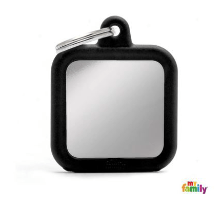 picture of square chrome hushtag name tag