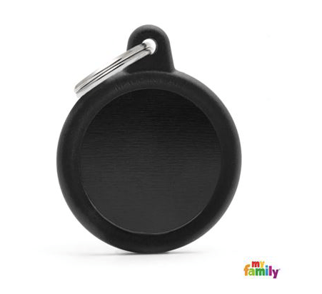 picture of black round hushtag name tag