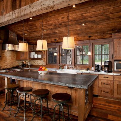 Log Cabin Kitchens (Cabinets & Ideas) in 2019 ... on Farmhouse:4Leikoxevec= Rustic Kitchen Ideas  id=12943