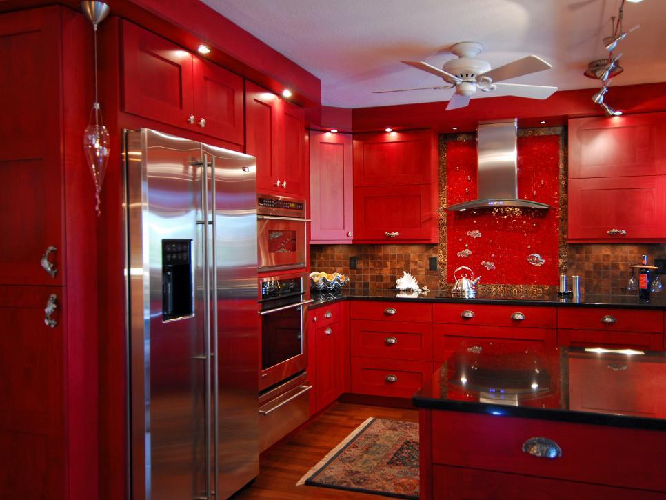 تصاميم مطابخ , تصميمات حديثه للمطابخ باللون الاحمر - صور جميلة