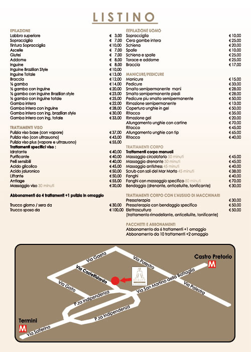 price list beauty center rome beauty smart