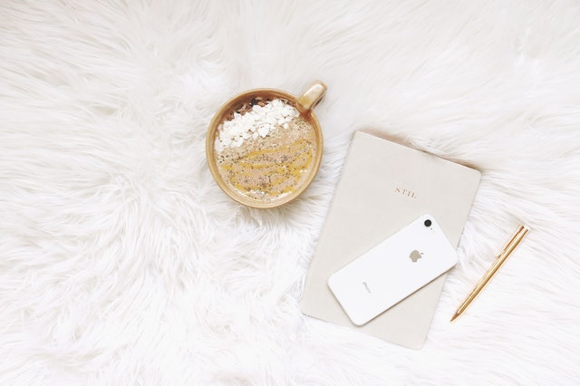 White diary and phone