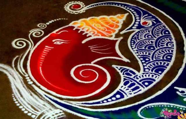Lord Ganesha Rangoli Design