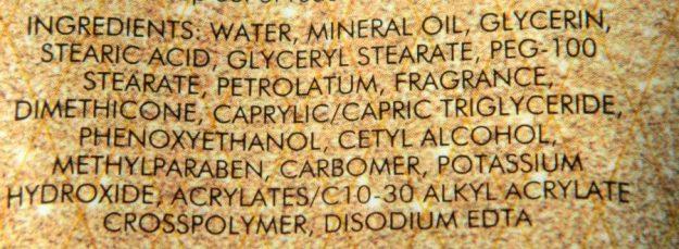 Avon Little Gold Dress Body Lotion Ingredients