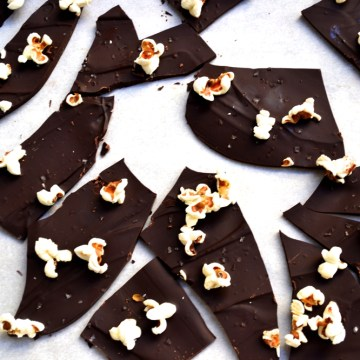 Salty dark chocolate bark with popcorn sprinkles.