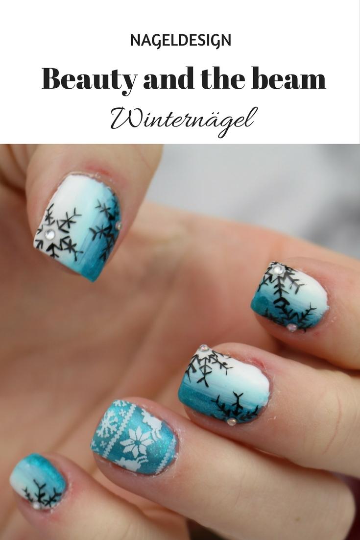 Nails] Winternägel blau/weiß | Beauty and the beam