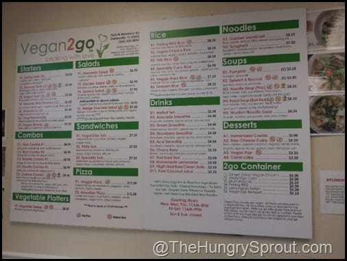 Vegan 2 Go Menu