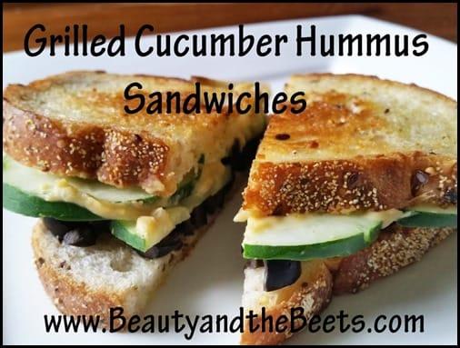 Grilled Cucumber Hummus Sandwiches BeautyandtheBeets