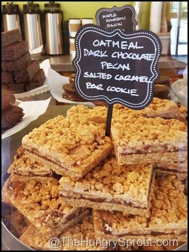 Oatmeal Dark Chocolate Pecan Salted Caramel Bar Cookie display