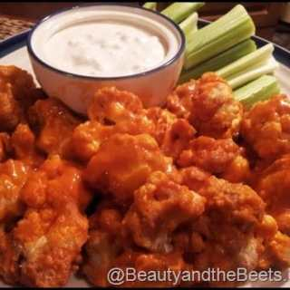 Cauliflower Buffalo Wings with Vegan Blue Cheese Dressing