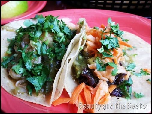 Flor de Jamaica Taco and a Cactus Taco Bone Garden Cantina The Hungry Sprout