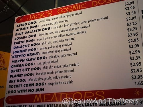 Jack's Cosmic Dogs menu