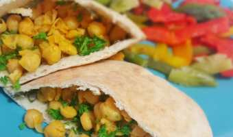 Buffalo Chickpea Pita Sandwiches