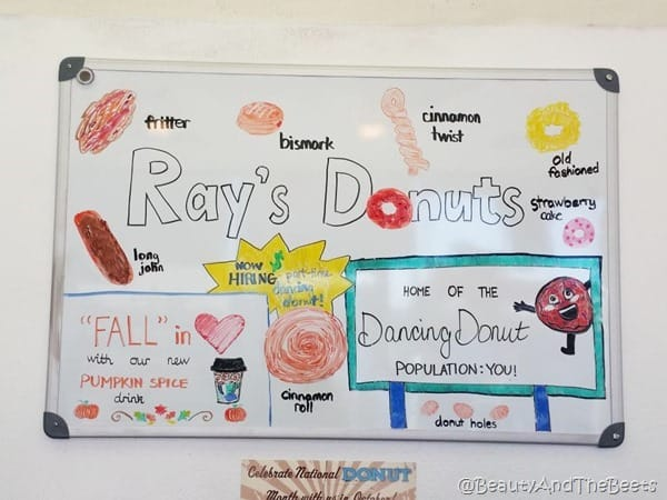 Ray's Donuts Branson board Beauty and the Beets