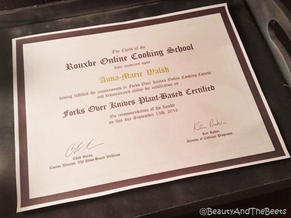 Forks Over Knives plant based certificate Beauty and the Beets