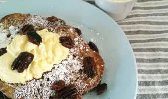 French Toast, Lemon Ricotta and Candied Pecans