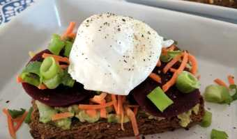 Beet Avocado Toast & Poached Egg