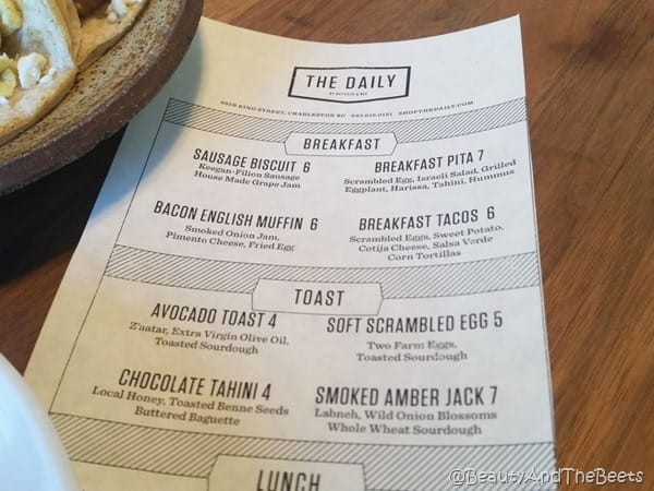a white paper with the menu printed on it