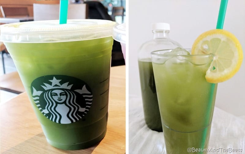 a Starbucks cup of green match lemonade next to the author's picture of a glass of green matcha lemonade on a white background