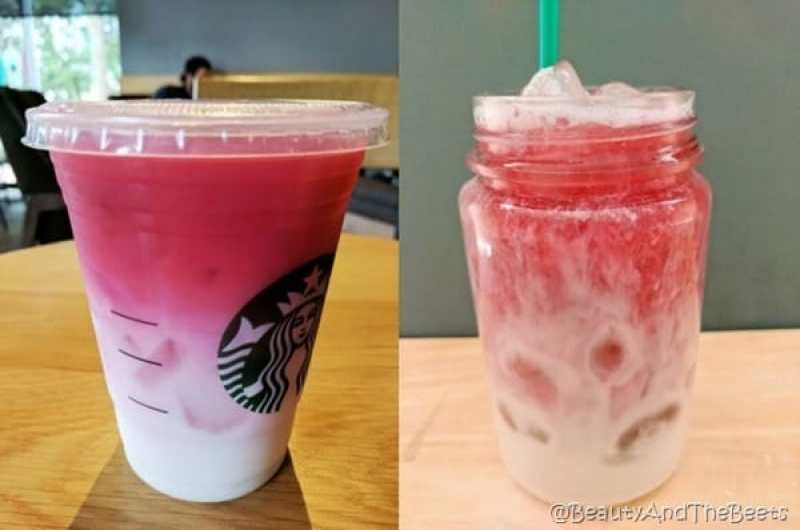 side by side comparison of the Starbucks ombre pink drink and the Beauty and the Beets version