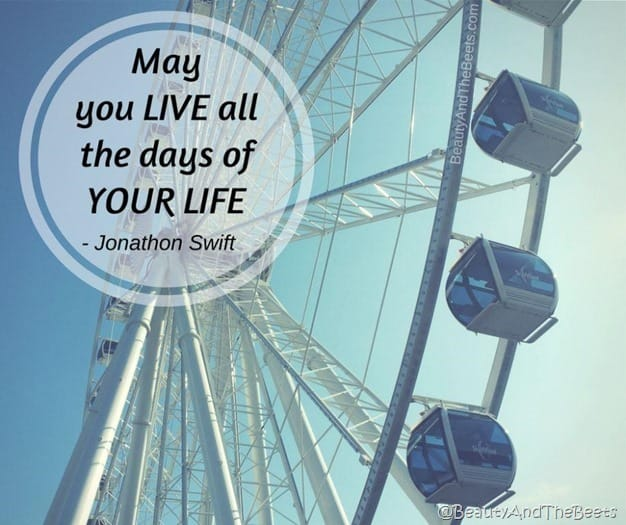 a ferris wheel against a clear blue sky with the saying May you LIVE all the days of your life quote
