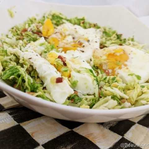 Brussels Sprouts Hash with Poached Eggs