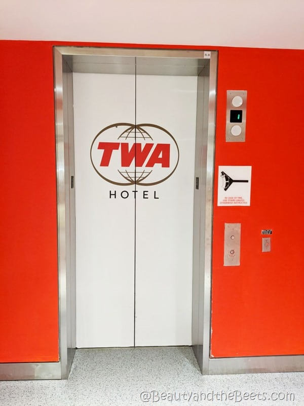 elevator to TWA Hotel Beauty and the Beets