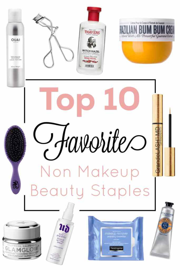 The Top 10 Non Makeup Beauty Staples you need in your life! A good mix of drugstore products and Sephora finds along with my favorite tips and tricks! #makeup #sephora #drugstoremakeup