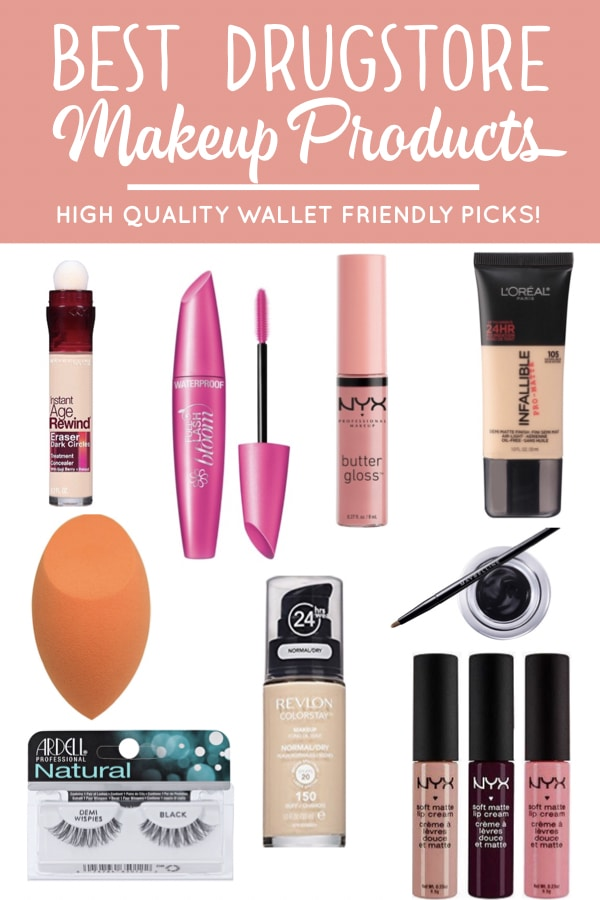 The best drugstore makeup products. Must have foundation, mascara, concealer & lip gloss that won't break the bank. #drugstoremakeup #makeup