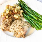 chicken thighs, asparagus and potatoes