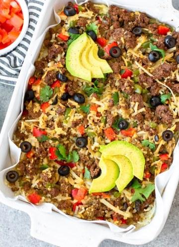 taco casserole in a casserole dish